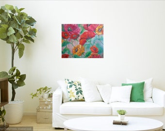 large abstract poppy art print,impasto painting, floral poppies art,garden art, wall decor,home decor, red poppies painting print,flower art