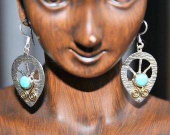Sale...Earrings Sterling silver blue sleeping beauty turquoise dangle -just   Stunning