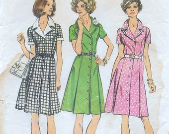 "A Princess Seam, Short Sleeve, Pleated Skirt, Shirtdress Sewing Pattern for Women: Half Sizes 10-1/2 & 12-1/2 Bust 33""-35"" • Simplicity 6157"