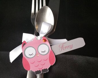 Place cards/OWL cutlery holder