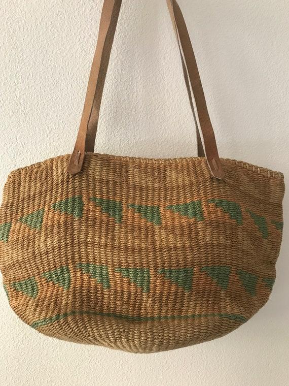 Vintage rope shoulder bag    beach bag   vintage rope bag  vintage shopping bag   straw bag   summer bag