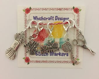 5 Silver Plated Knitting Charm Stitch Markers