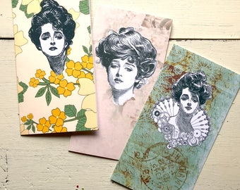 Vintage Ladies Standard Size Travelers Notebook Style Inserts Set of Three