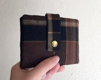 Upcycled Wolle Plaid Geldbörse - Midsize Cash und Card Wallet mit Änderung Beutel