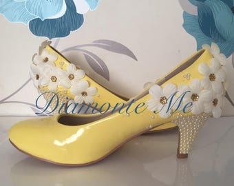 3D Daisy Pearl Heels - Daisy - Bridal Shoes - Bridesmaid - Wedding - Prom - Customised Shoes - Pearl - Lemon Yellow - Daisies - UK Size 3-8