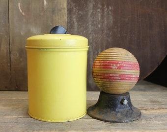 Vintage Yellow Tin // Black Handle // Art Deco