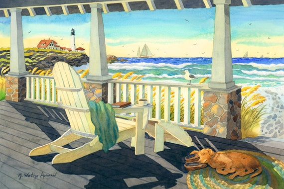 East Coast Beach Cottage Adirondack Chair and Dog, With Lighthouse, Seagull and Sailboats by the Ocean