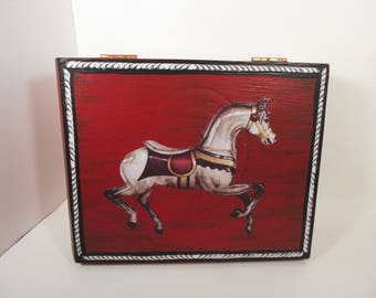 Carousel Horse Red Jewelry Box