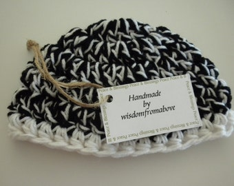 ON SALE Baby Hat Crochet Black and  White Thick Soft Infant Photography Prop 6 - 12 mos.