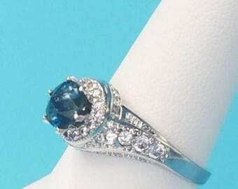 Unique Blue Montana Sapphire Ring Precision Cut Size 7 Great Color 1.3ct!
