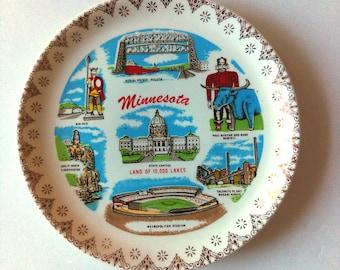 Vintage State Souvenir Plate: Small, Minnesota, Collectible, Memorabilia