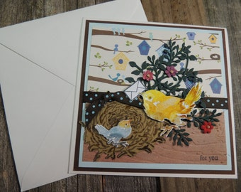 Spring  Card, bird Card, Handmade Hand Stamped Card, Any Occasion, Got Mail, For You Card.