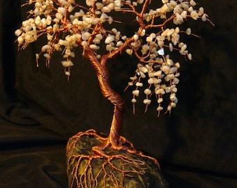 Handmade Mother of Pearl Gemstone Tree Sculpture