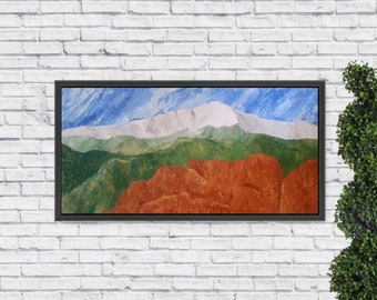 Garden of the Gods, a 48x24 acrylic impasto painting of the iconic park with Pikes Peak in the background; handcrafted frame included