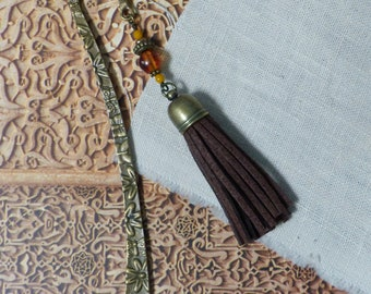 Bookmark bronze oriental Moroccan Brown tassel