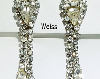 Weiss Rhinestone Dangle Clip Earrings - Clear Center Teardrop Rhinestone with Pronged Chatons and Clear Marquise  - Formal & Bridal Earrings