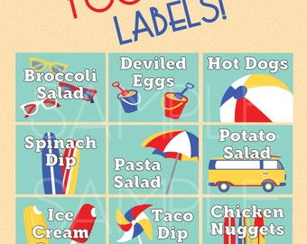 Beach Ball Birthday Party - Pool Party Food Labels - Summer Party Labels - Surf Beach Party Decorations - 2 Designs - Digital File Only