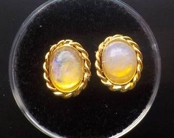 Purple Crystal Opal Earrings from Lightning Ridge