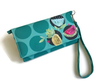 Women wallet, blue wallet, large wallet, summer wallet, trifold, vegan wallet, wallet, colorful wallet, polka dot, pineapple, watermelon