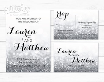 Glitter Wedding Invitation Set, RSVP Postcard, Silver Wedding Invitation, Printable Wedding Invitation, Digital Wedding Invitation Template