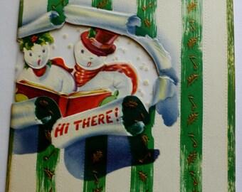 Vintage Christmas Card,  Snowman Caroling, Vintage Card, Signed, Fold Over Card. Green Stripe