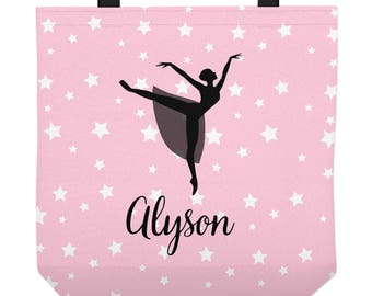 Personalized Ballet Bag - Pink Tote Bag with Ballerina Silhouette - Three Sizes - Dance Bag - Ballet Tote
