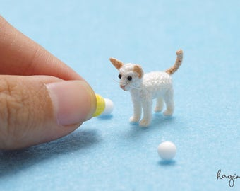 Miniature Flame Point Siamese cat, Tiny crochet Apricot Siamese, micro crochet cat, amigurumi tiny crochet cat