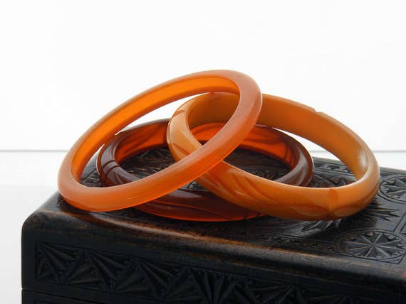 Vintage Bakelite Bangle Set | Three Bakelite Bangles in Shades of Orange and Amber | Translucent, Opaque Antique Bakelite Bracelets