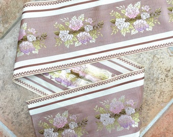 "French Vintage La Petite Fleur Collection Flower Pattern Brown 5"" Ribbon by the Yard"