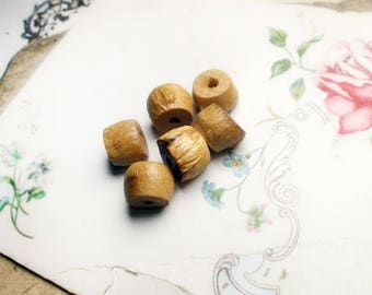 Vintage Bamboo Beads - 6 Wood Drum Shape Beads - 10mm - Vintage Japan Beads - Shiny, Lightweight Wood Beads - Neutral Earthy Organic Beads