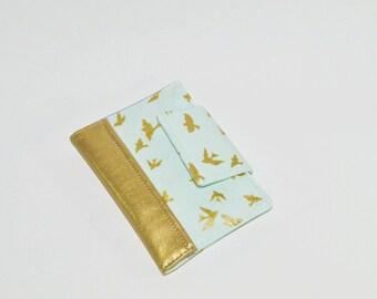 SAMPLE SALE Passport Wallet - Blue Passport Holder - Mini Journal Cover - Metallic Gold Family Travel Wallet - Gift for Her