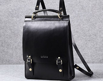 Leather backpack women leather laptop bag leather minimalist shoulder bag school bag backpack vintage backpack