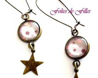 Earrings cabochon polka dot and Star