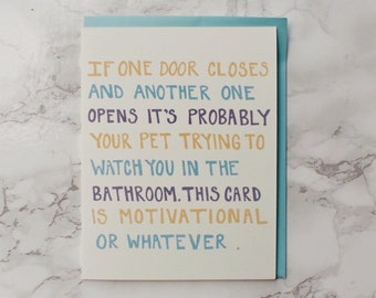 Funny Motivational Card. Thinking of You Card.