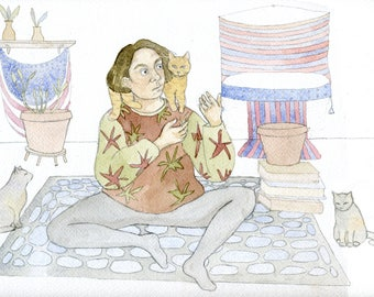 My Three Cats, original watercolor painting
