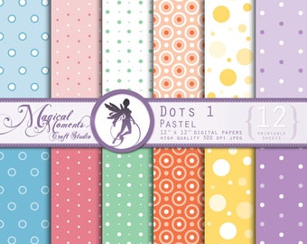 Dots 1, Pastel, 12 digital paper kit, Scrapbooking, dots patterns, polka dots patterns, dots and lines, pastel circle pattern, round pattern