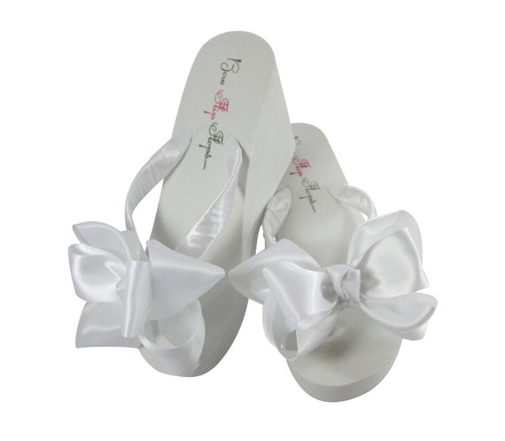 25 Wedding Classic Flip flat bow Flip 1 White 2 the Flops 3 inch Bridal Ivory Knotted Flops inch 5 Wedges Bridesmaid inch heel for Bow zp1zqHxC