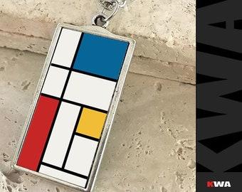 Mondrian Accessories. Mondrian Pendant. Mondrian Necklace. Mondrian Art Jewelry. Piet Mondrian Fashion Accessory. Modern Art Necklace.