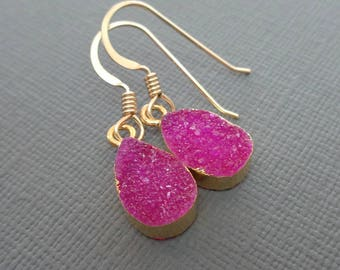 Hot Pink Druzy Earrings/ Sparkly Pink and Gold Edge Pear Druzy Earrings / Small Fuchsia Earrings /Bridesmaid Gift/ Pink Wedding//GE13