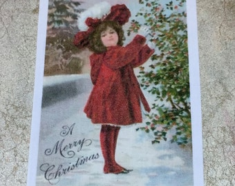Little Girl in Red coat Fusible Vintage Image