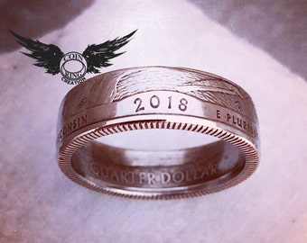 1965 to 2018 quarter coin ring - pick your year