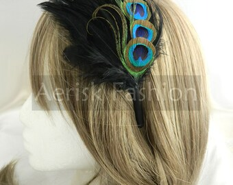 AGNES design Peacock feather fascinator with rooster feather backing (5 fastener, 8 color options) derby,mardi gras,easter sunday,wedding