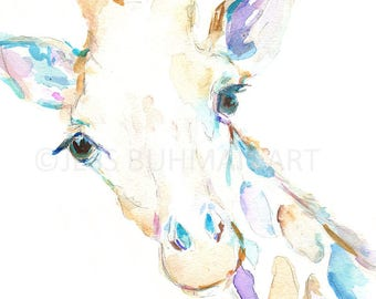 Giraffe Watercolor Print, Print of Giraffe, Watercolor Giraffe, Watercolor Animal Print, Giraffe Painting, Nursery Art, Nursery Watercolor