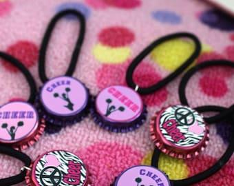 Assorted Cheer Cheerleader Cheerleading Pony Tail Holders Stretch Bracelets 12pk