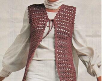 Long Vest Crochet Pattern Vintage 1970s LONG VEST CROCHET Pattern  top bohemian hippie easy quick fun Instant Download Pdf