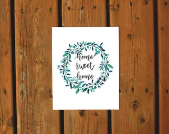 Wall Art Watercolor Print | Home Sweet Home | Watercolor Wreath Foliage Nature Print | Teal Green Navy Home Decor Gallery Wall Living Room