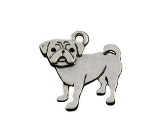 Pug Charm, Pug Jewelry, Silver Plated Pug Dog Charm, Gift for Pug Owner, Pewter Pug Charm, Pug Lover Jewelry