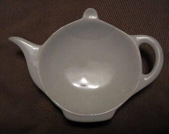 White Ceramic Teapot Tea Bag Dish/Holder