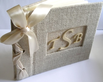 Small Rustic Wedding Guestbook - Burlap Monogram Guest Book Personalized - Wedding Guest Book Alternative (Custom Colors Available)