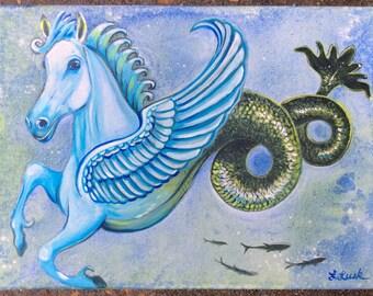 Seahorse (acrylic painting, hippocampus, asbury park, sea creature, legend, nautical, mythological, myth, coastal)